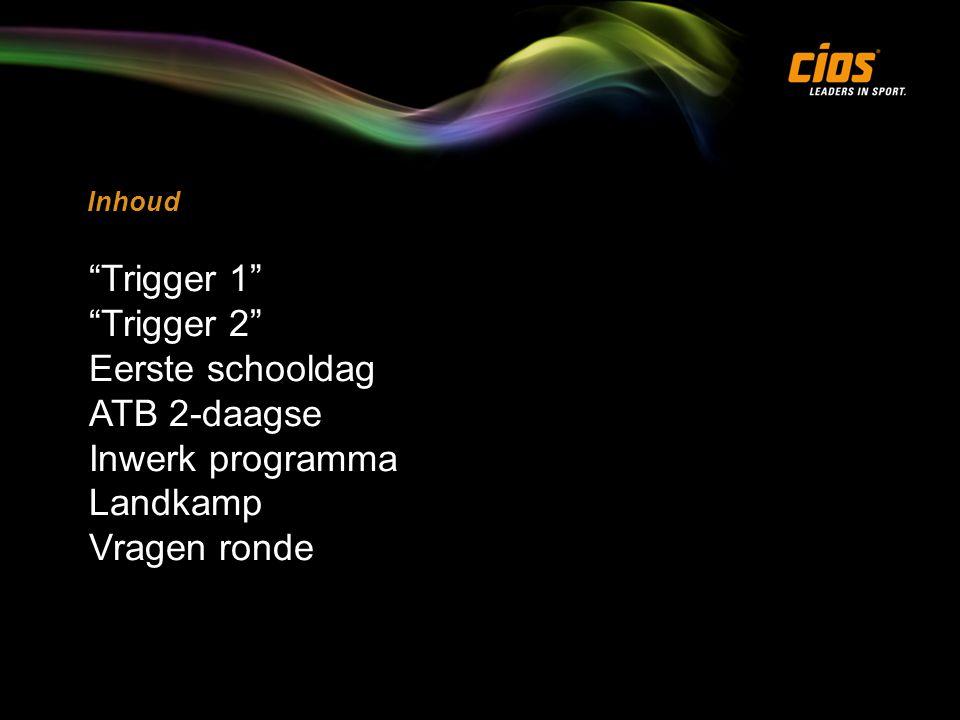 Inhoud Trigger 1 Trigger 2 Eerste schooldag ATB 2-daagse Inwerk programma Landkamp Vragen ronde