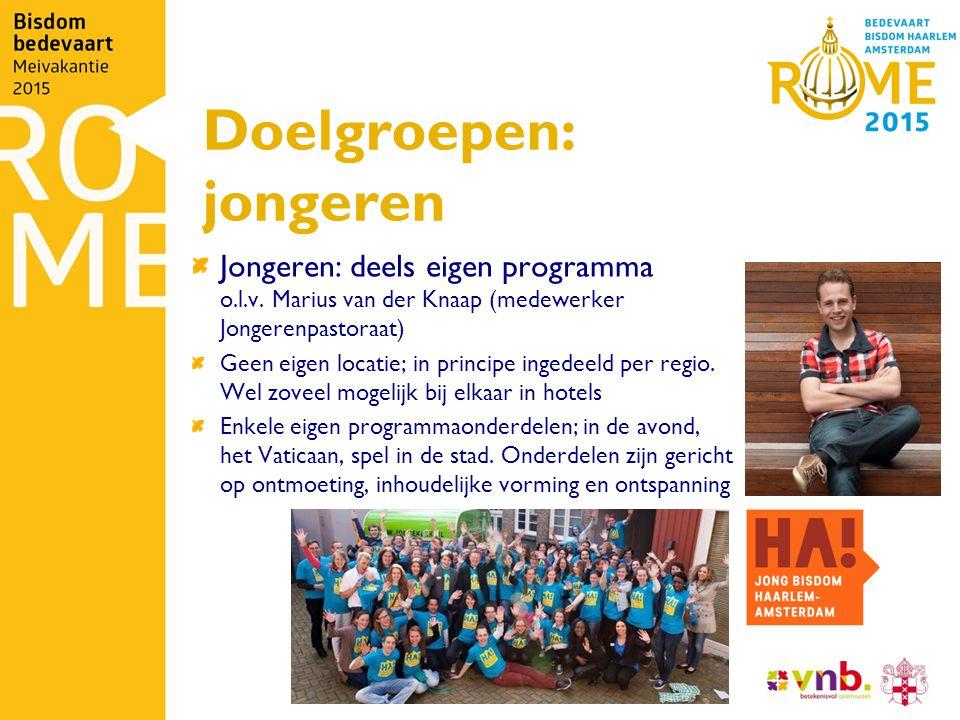 Doelgroepen: jongeren Jongeren: deels eigen programma o.l.v.