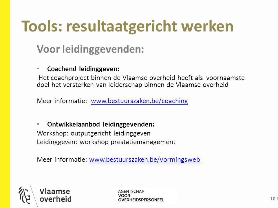 Tools: resultaatgericht werken 101 Voor leidinggevenden: Coachend leidinggeven: Het coachproject binnen de Vlaamse overheid heeft als voornaamste doel