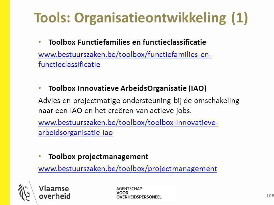 Tools: Organisatieontwikkeling (1) 105 Toolbox Functiefamilies en functieclassificatie www.bestuurszaken.be/toolbox/functiefamilies-en- functieclassif