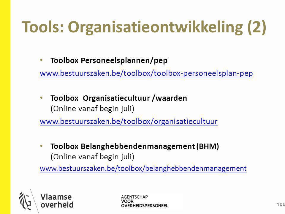 Tools: Organisatieontwikkeling (2) 106 Toolbox Personeelsplannen/pep www.bestuurszaken.be/toolbox/toolbox-personeelsplan-pep Toolbox Organisatiecultuu
