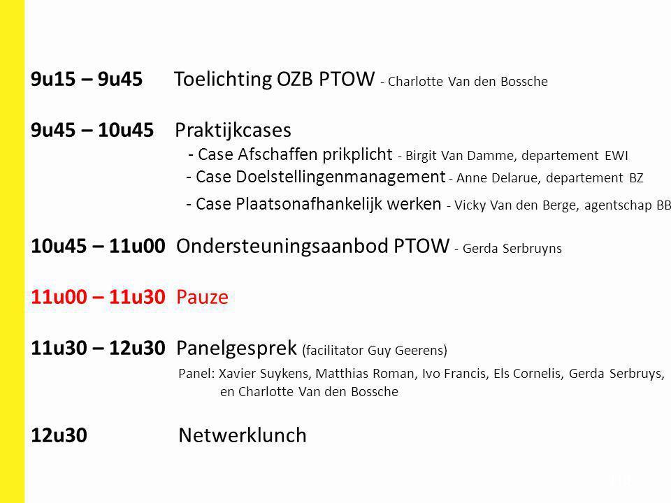 110 9u15 – 9u45 Toelichting OZB PTOW - Charlotte Van den Bossche 9u45 – 10u45 Praktijkcases - Case Afschaffen prikplicht - Birgit Van Damme, departeme