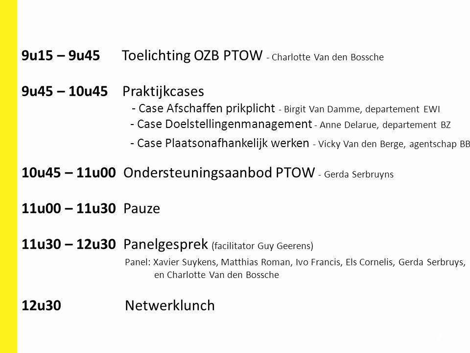 2 9u15 – 9u45 Toelichting OZB PTOW - Charlotte Van den Bossche 9u45 – 10u45 Praktijkcases - Case Afschaffen prikplicht - Birgit Van Damme, departement