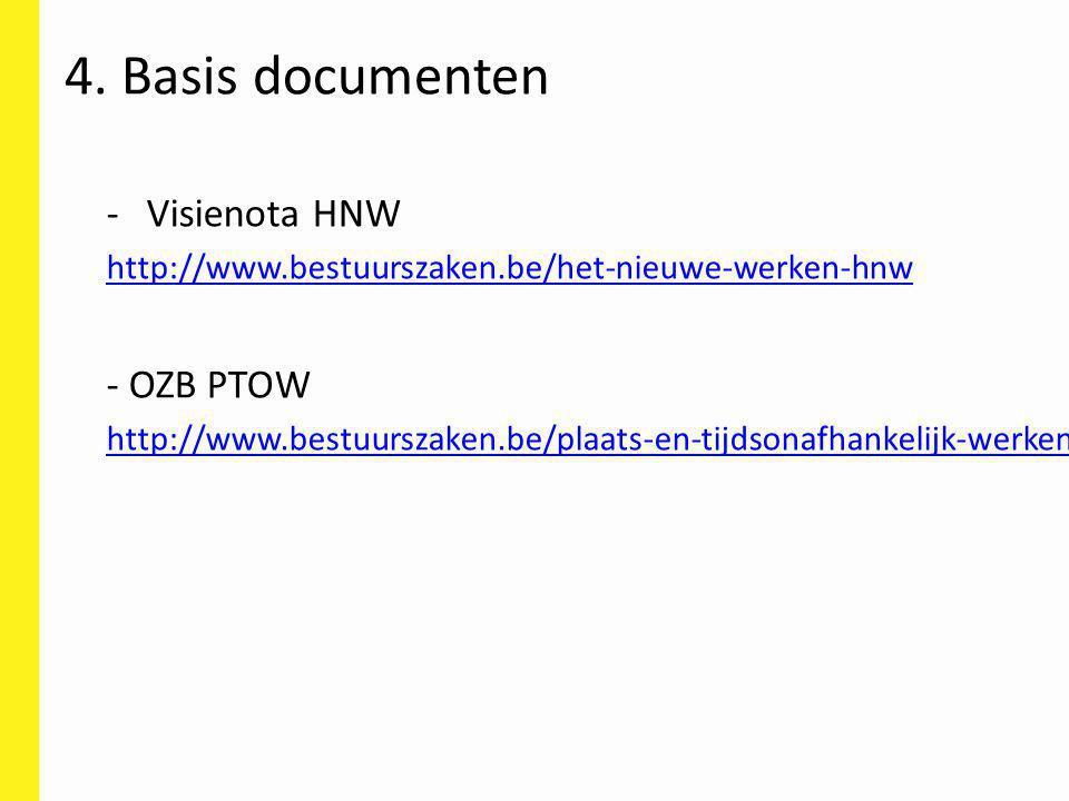 -Visienota HNW http://www.bestuurszaken.be/het-nieuwe-werken-hnw - OZB PTOW http://www.bestuurszaken.be/plaats-en-tijdsonafhankelijk-werken 4. Basis d