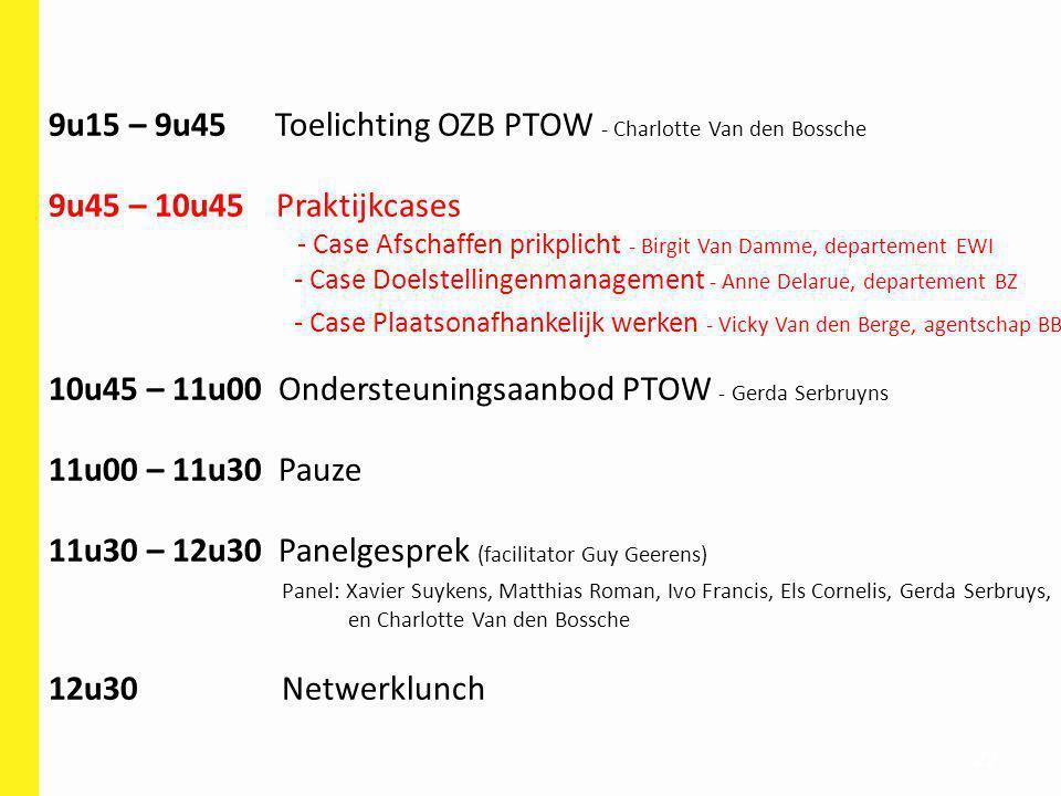 22 9u15 – 9u45 Toelichting OZB PTOW - Charlotte Van den Bossche 9u45 – 10u45 Praktijkcases - Case Afschaffen prikplicht - Birgit Van Damme, departemen