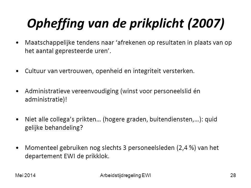 Opheffing van de prikplicht (2007) Maatschappelijke tendens naar 'afrekenen op resultaten in plaats van op het aantal gepresteerde uren'. Cultuur van