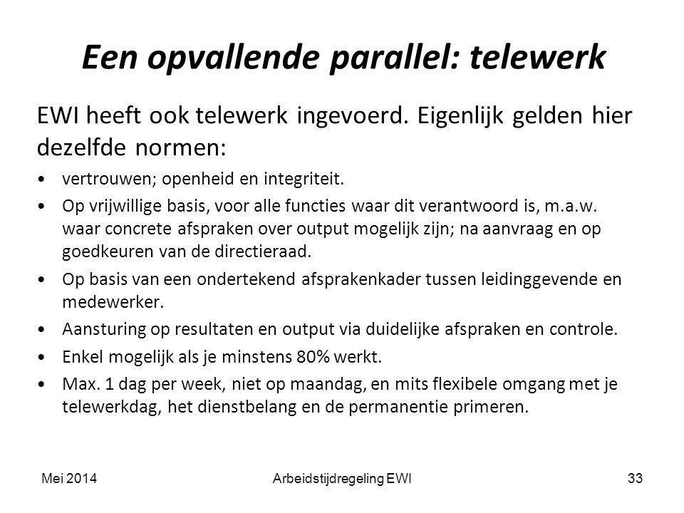 Een opvallende parallel: telewerk 33 EWI heeft ook telewerk ingevoerd. Eigenlijk gelden hier dezelfde normen: vertrouwen; openheid en integriteit. Op