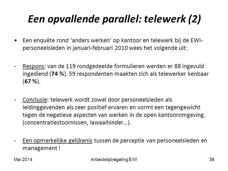 Een opvallende parallel: telewerk (2) 36Arbeidstijdregeling EWI Een enquête rond 'anders werken' op kantoor en telewerk bij de EWI- personeelsleden in