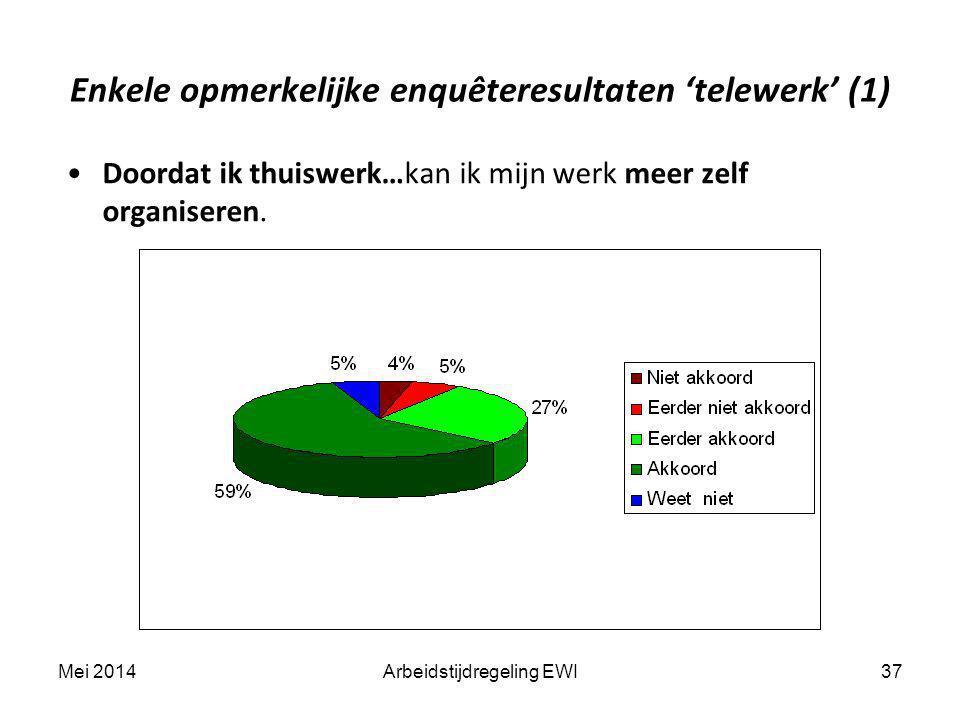 Enkele opmerkelijke enquêteresultaten 'telewerk' (1) Doordat ik thuiswerk…kan ik mijn werk meer zelf organiseren. Mei 201437Arbeidstijdregeling EWI