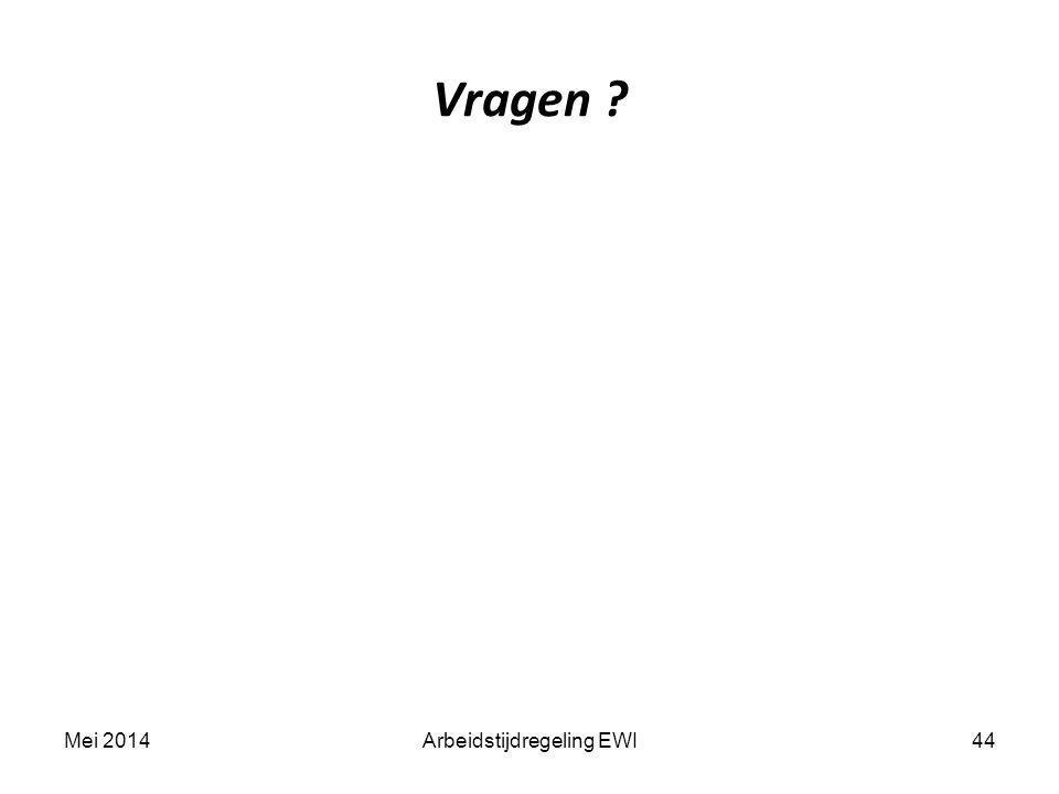 Vragen ? 44Mei 2014Arbeidstijdregeling EWI