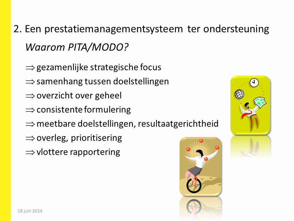 18 juni 2014 54  gezamenlijke strategische focus  samenhang tussen doelstellingen  overzicht over geheel  consistente formulering  meetbare doels