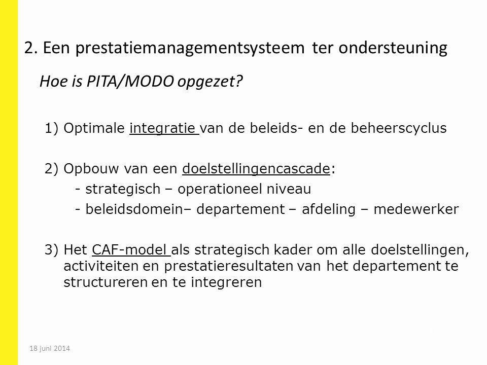 55 1) Optimale integratie van de beleids- en de beheerscyclus 2) Opbouw van een doelstellingencascade: - strategisch – operationeel niveau - beleidsdo
