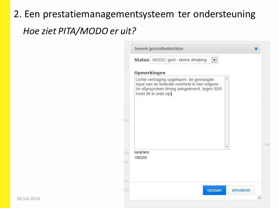 18 juni 2014 61 2. Een prestatiemanagementsysteem ter ondersteuning Hoe ziet PITA/MODO er uit?