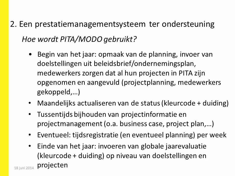 69 Begin van het jaar: opmaak van de planning, invoer van doelstellingen uit beleidsbrief/ondernemingsplan, medewerkers zorgen dat al hun projecten in