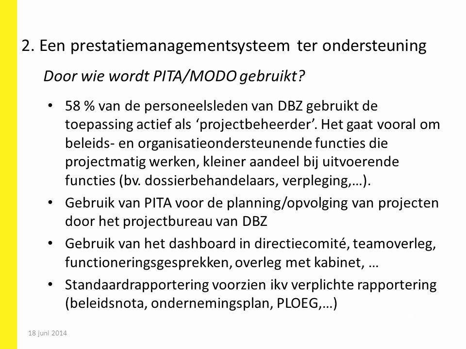 18 juni 2014 70 58 % van de personeelsleden van DBZ gebruikt de toepassing actief als 'projectbeheerder'. Het gaat vooral om beleids- en organisatieon