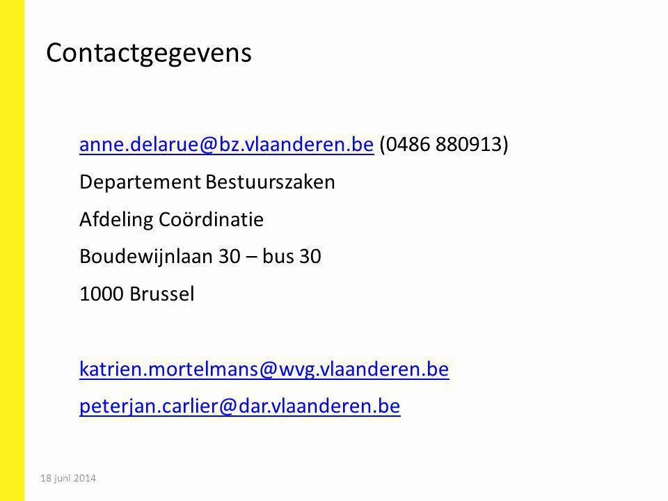 18 juni 2014 77 Contactgegevens anne.delarue@bz.vlaanderen.beanne.delarue@bz.vlaanderen.be (0486 880913) Departement Bestuurszaken Afdeling Coördinati