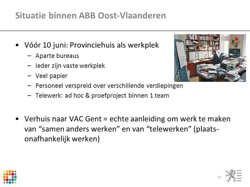 Situatie binnen ABB Oost-Vlaanderen Vóór 10 juni: Provinciehuis als werkplek –Aparte bureaus –Ieder zijn vaste werkplek –Veel papier –Personeel verspr