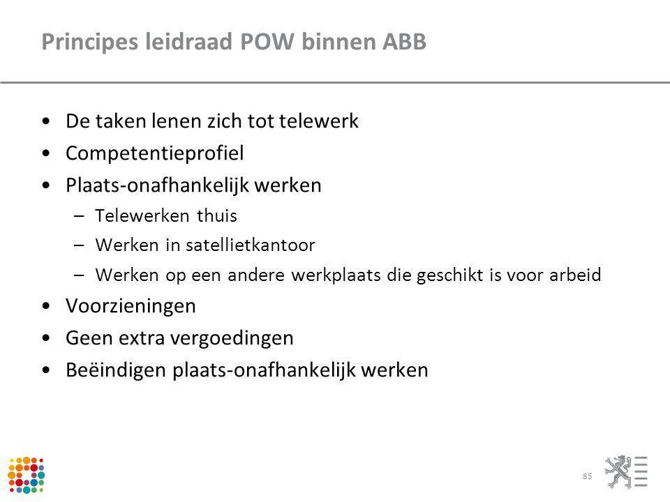 Principes leidraad POW binnen ABB De taken lenen zich tot telewerk Competentieprofiel Plaats-onafhankelijk werken –Telewerken thuis –Werken in satelli