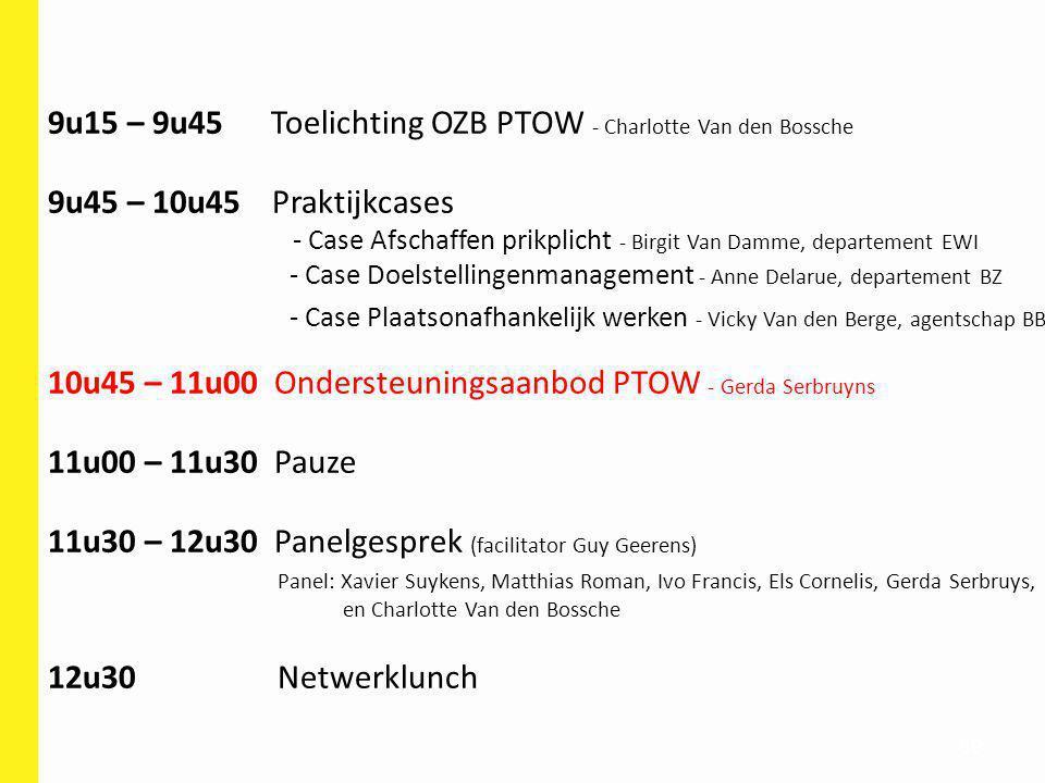89 9u15 – 9u45 Toelichting OZB PTOW - Charlotte Van den Bossche 9u45 – 10u45 Praktijkcases - Case Afschaffen prikplicht - Birgit Van Damme, departemen