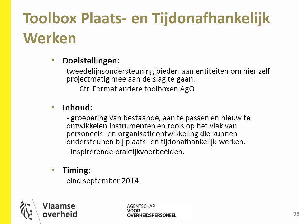 Toolbox Plaats- en Tijdonafhankelijk Werken 93 Doelstellingen: tweedelijnsondersteuning bieden aan entiteiten om hier zelf projectmatig mee aan de sla