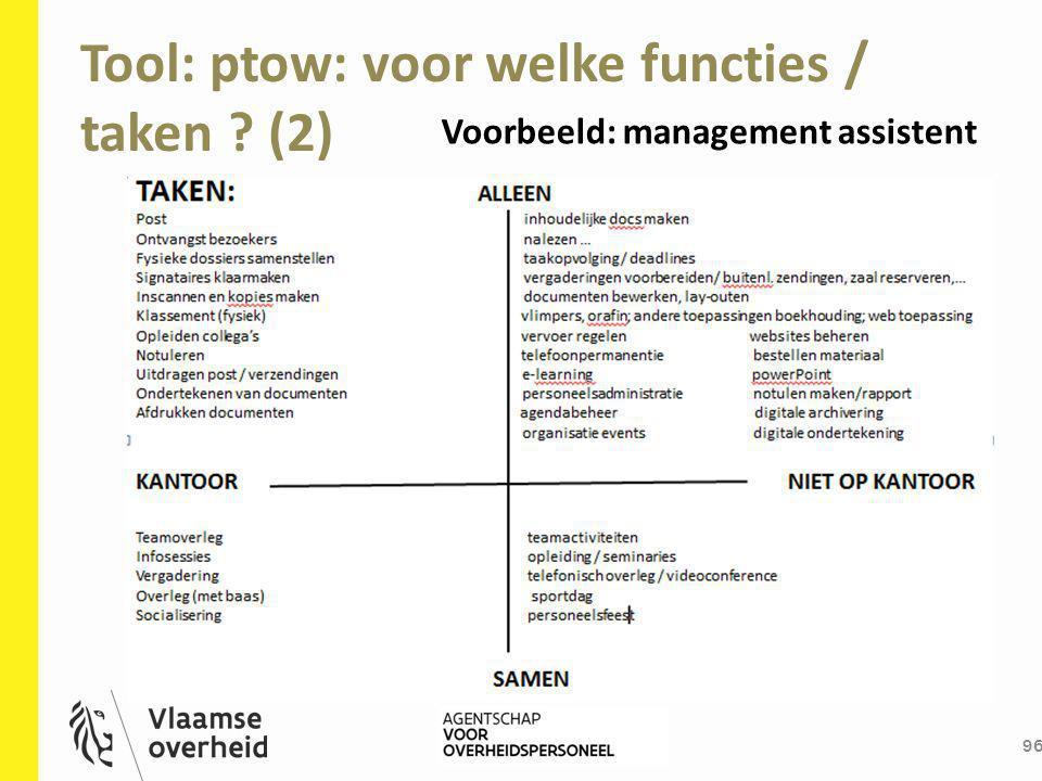 Tool: ptow: voor welke functies / taken ? (2) 96 Voorbeeld: management assistent
