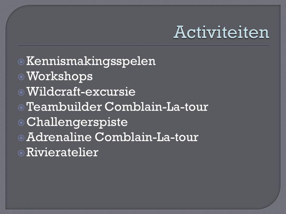  Kennismakingsspelen  Workshops  Wildcraft-excursie  Teambuilder Comblain-La-tour  Challengerspiste  Adrenaline Comblain-La-tour  Rivieratelier