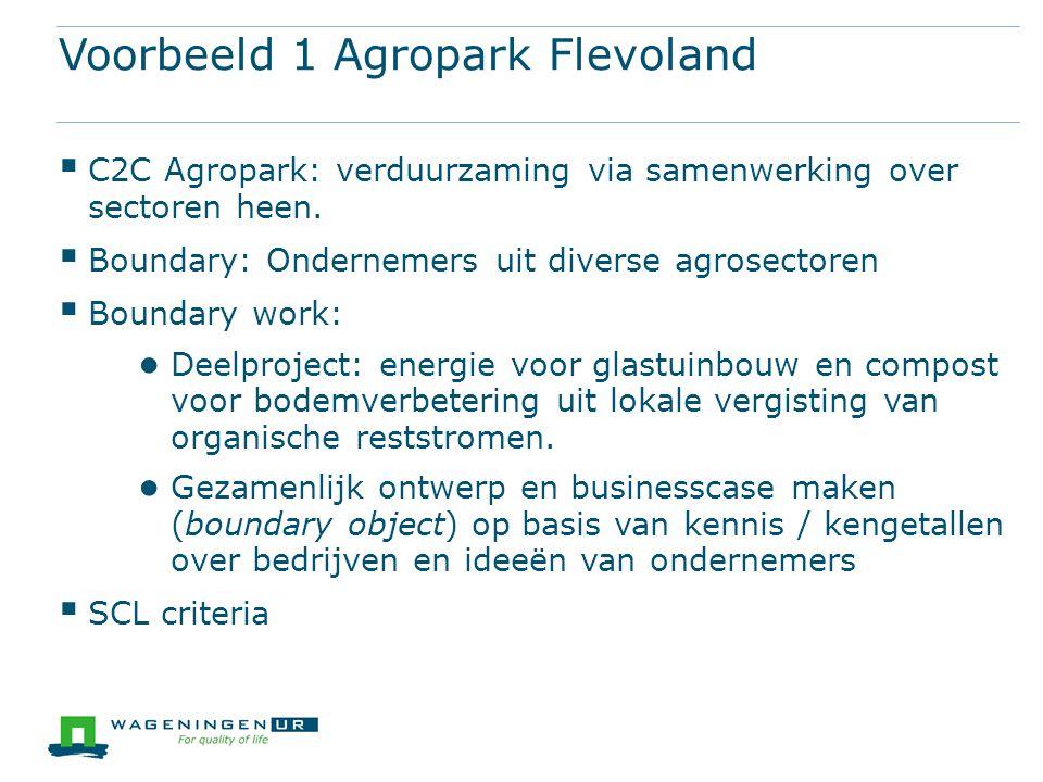 Voorbeeld 1 Agropark Flevoland  C2C Agropark: verduurzaming via samenwerking over sectoren heen.  Boundary: Ondernemers uit diverse agrosectoren  B