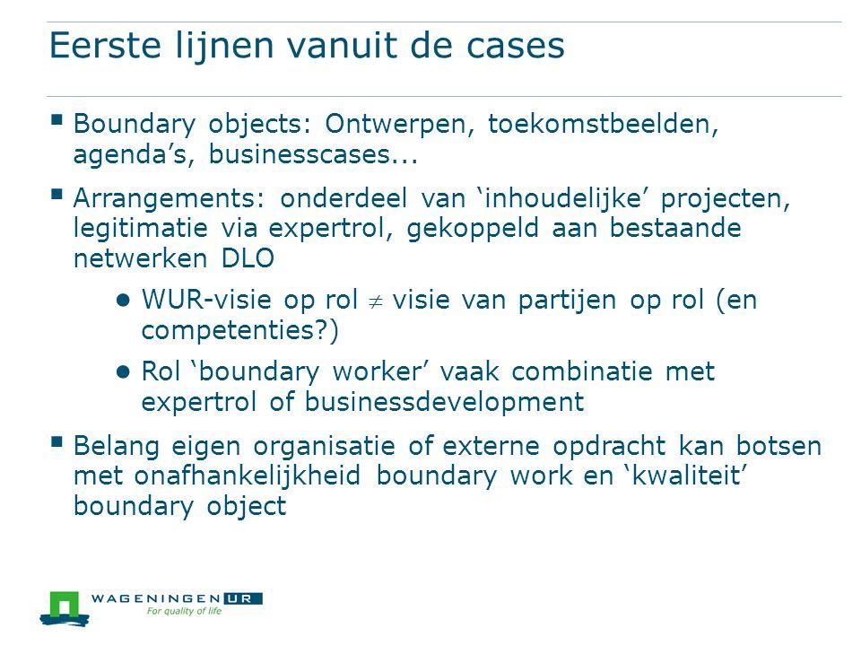Eerste lijnen vanuit de cases  Boundary objects: Ontwerpen, toekomstbeelden, agenda's, businesscases...  Arrangements: onderdeel van 'inhoudelijke'