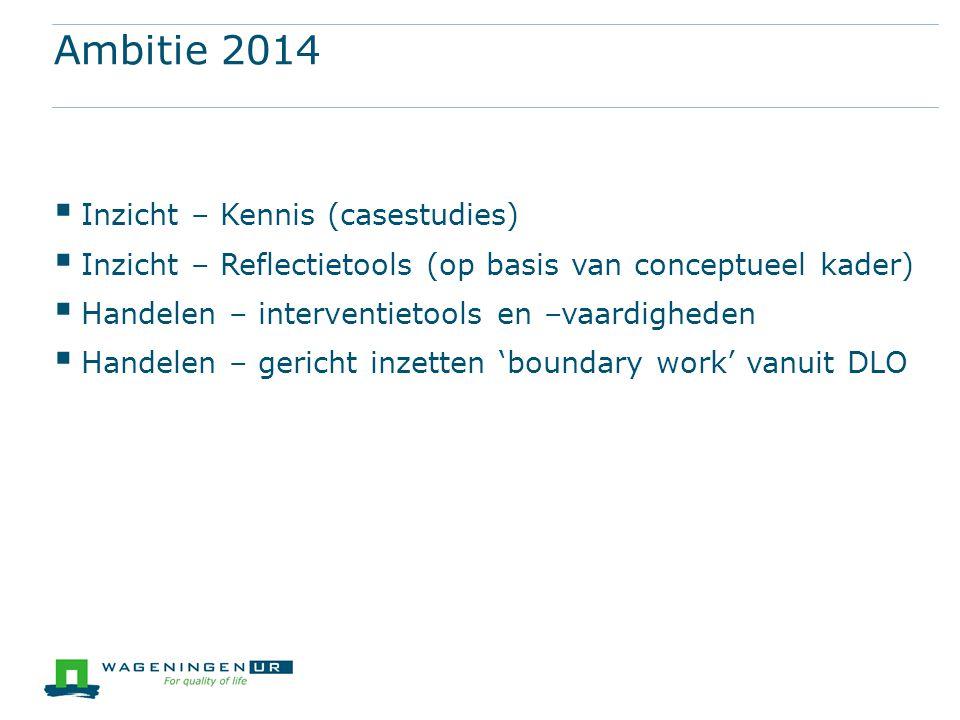 Ambitie 2014  Inzicht – Kennis (casestudies)  Inzicht – Reflectietools (op basis van conceptueel kader)  Handelen – interventietools en –vaardighed