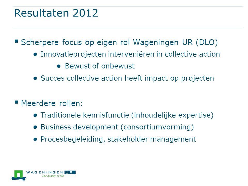 Resultaten 2012  Scherpere focus op eigen rol Wageningen UR (DLO) ● Innovatieprojecten interveniëren in collective action ● Bewust of onbewust ● Succ