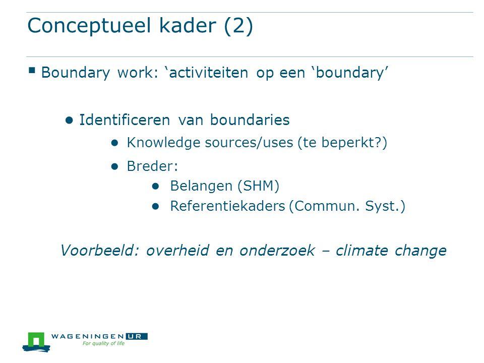 Conceptueel kader (3)  Succesvol boundary work ● SH participation ● Governance arrangement ● Boundary object  Concerns for boundary work: kennis is...