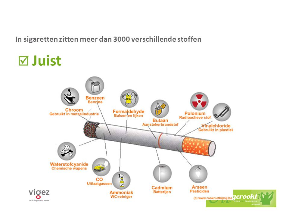 2. De teer in sigaretten zorgt ervoor dat je longen zwart worden.  Juist  Fout