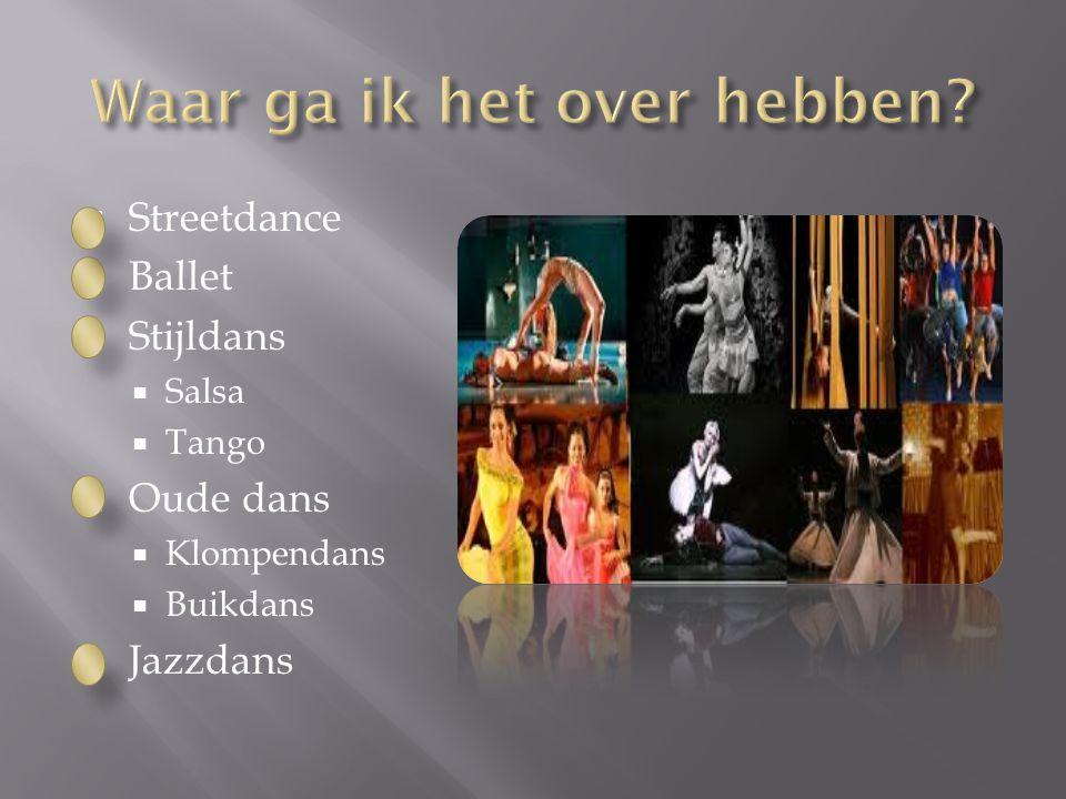 Mijn spreekbeurt gaat over de dans. Ik heb het onderwerp gekozen, omdat het mijn hobby is en ik er veel over weet.