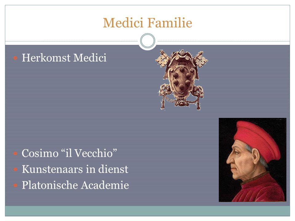 """Herkomst Medici Cosimo """"il Vecchio"""" Kunstenaars in dienst Platonische Academie"""
