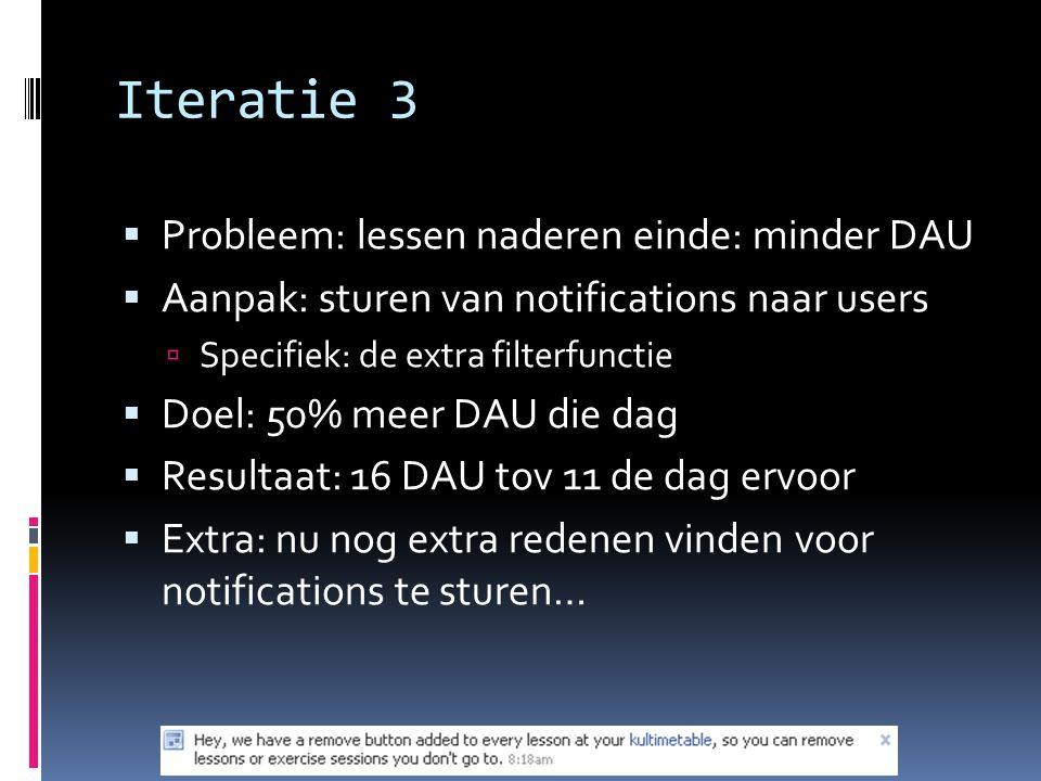 Iteratie 3  Probleem: lessen naderen einde: minder DAU  Aanpak: sturen van notifications naar users  Specifiek: de extra filterfunctie  Doel: 50% meer DAU die dag  Resultaat: 16 DAU tov 11 de dag ervoor  Extra: nu nog extra redenen vinden voor notifications te sturen…