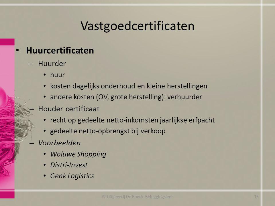 Vastgoedcertificaten Huurcertificaten – Huurder huur kosten dagelijks onderhoud en kleine herstellingen andere kosten (OV, grote herstelling): verhuur