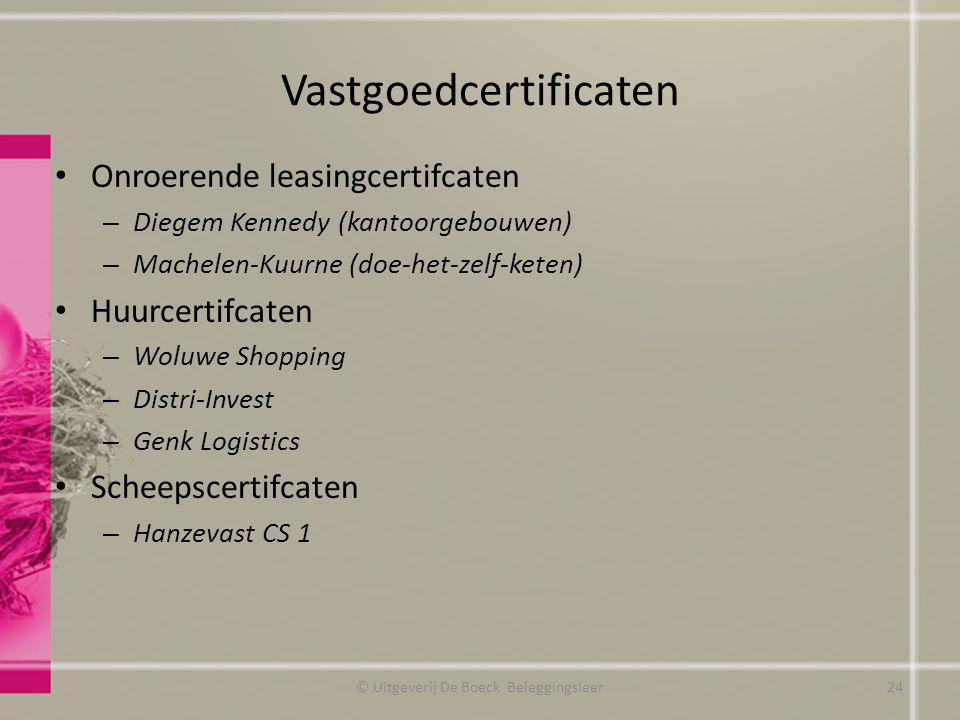 Vastgoedcertificaten Onroerende leasingcertifcaten – Diegem Kennedy (kantoorgebouwen) – Machelen-Kuurne (doe-het-zelf-keten) Huurcertifcaten – Woluwe