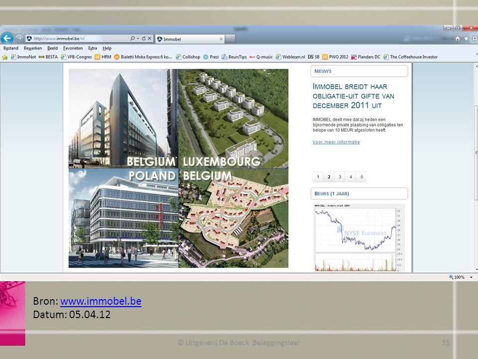© Uitgeverij De Boeck Beleggingsleer Bron: www.immobel.bewww.immobel.be Datum: 05.04.12 31