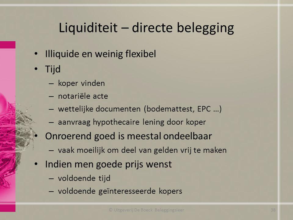 Liquiditeit – directe belegging Illiquide en weinig flexibel Tijd – koper vinden – notariële acte – wettelijke documenten (bodemattest, EPC …) – aanvr