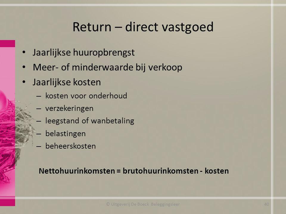 Return – direct vastgoed Jaarlijkse huuropbrengst Meer- of minderwaarde bij verkoop Jaarlijkse kosten – kosten voor onderhoud – verzekeringen – leegst