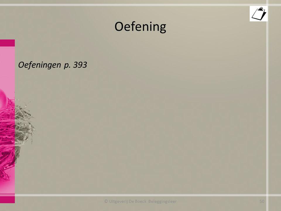 Oefening Oefeningen p. 393 © Uitgeverij De Boeck Beleggingsleer50
