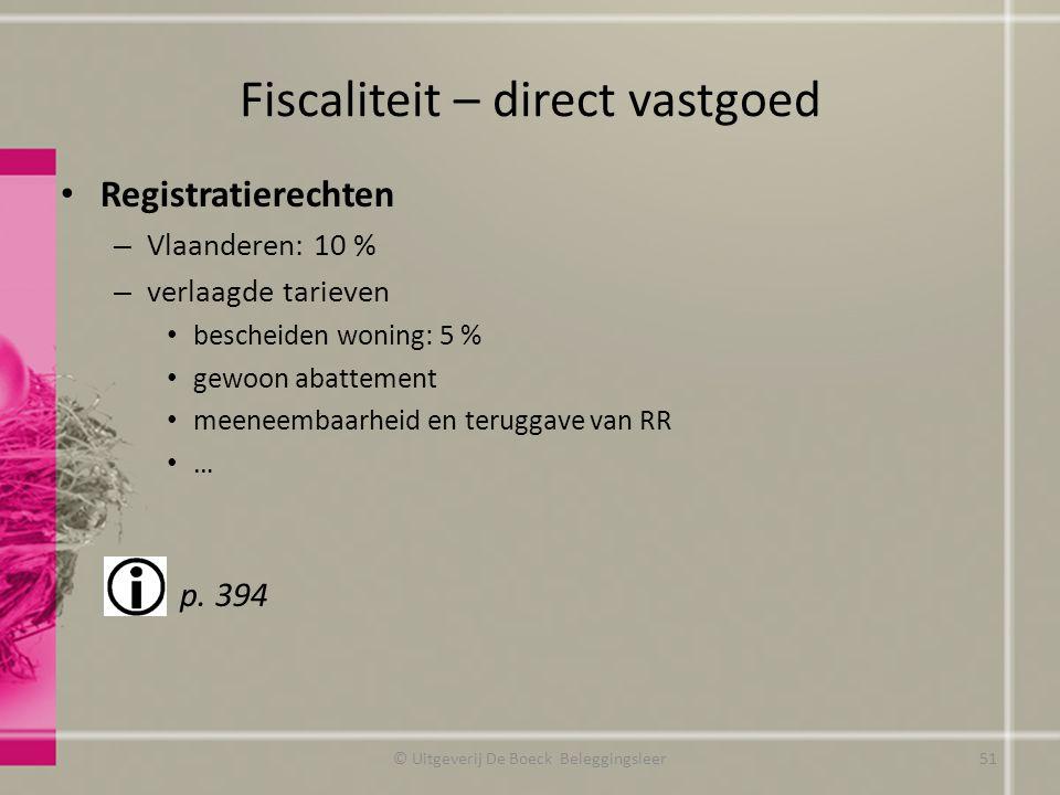 Fiscaliteit – direct vastgoed Registratierechten – Vlaanderen: 10 % – verlaagde tarieven bescheiden woning: 5 % gewoon abattement meeneembaarheid en t