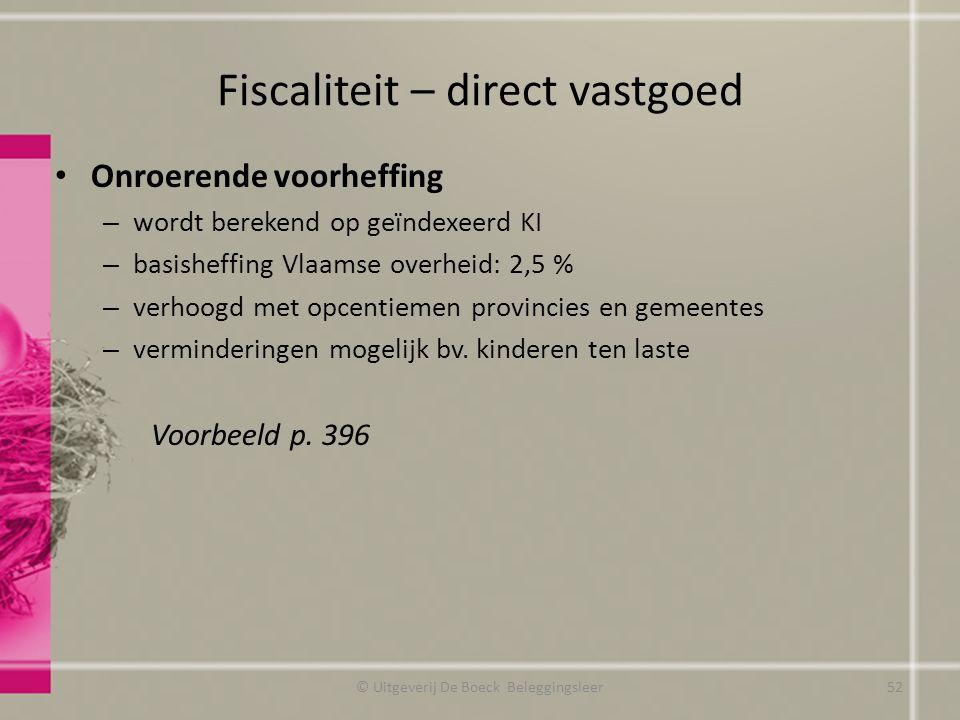 Fiscaliteit – direct vastgoed Onroerende voorheffing – wordt berekend op geïndexeerd KI – basisheffing Vlaamse overheid: 2,5 % – verhoogd met opcentie