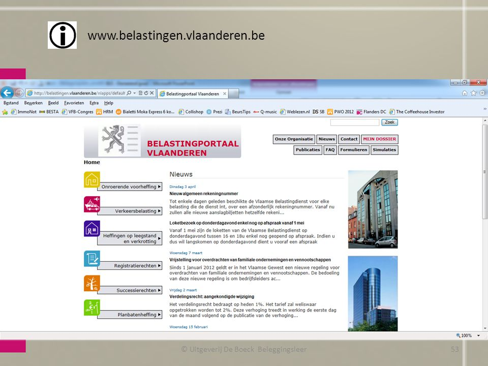 © Uitgeverij De Boeck Beleggingsleer www.belastingen.vlaanderen.be 53