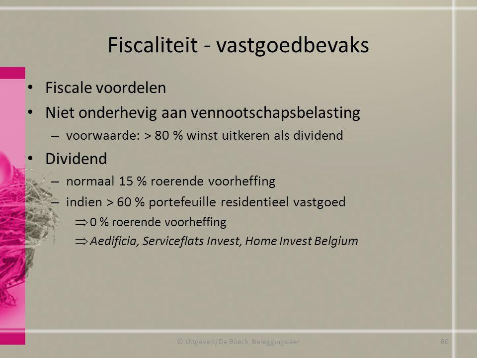 Fiscaliteit - vastgoedbevaks Fiscale voordelen Niet onderhevig aan vennootschapsbelasting – voorwaarde: > 80 % winst uitkeren als dividend Dividend –