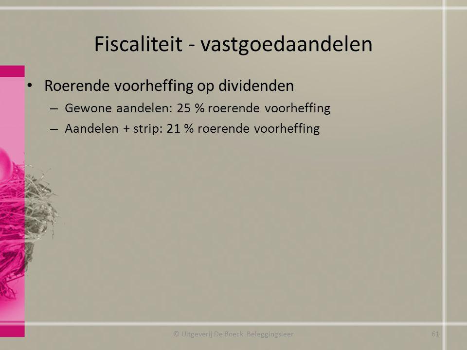 Fiscaliteit - vastgoedaandelen Roerende voorheffing op dividenden – Gewone aandelen: 25 % roerende voorheffing – Aandelen + strip: 21 % roerende voorh