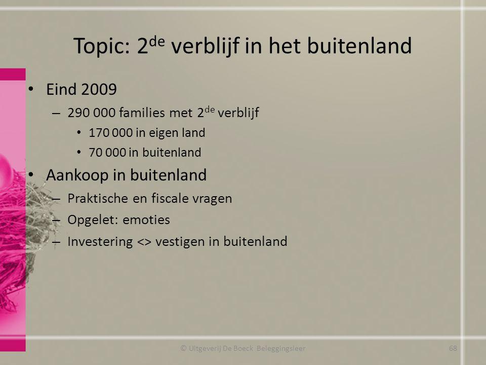 Topic: 2 de verblijf in het buitenland Eind 2009 – 290 000 families met 2 de verblijf 170 000 in eigen land 70 000 in buitenland Aankoop in buitenland