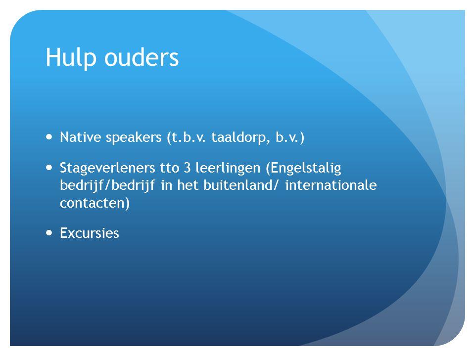 Hulp ouders Native speakers (t.b.v. taaldorp, b.v.) Stageverleners tto 3 leerlingen (Engelstalig bedrijf/bedrijf in het buitenland/ internationale con