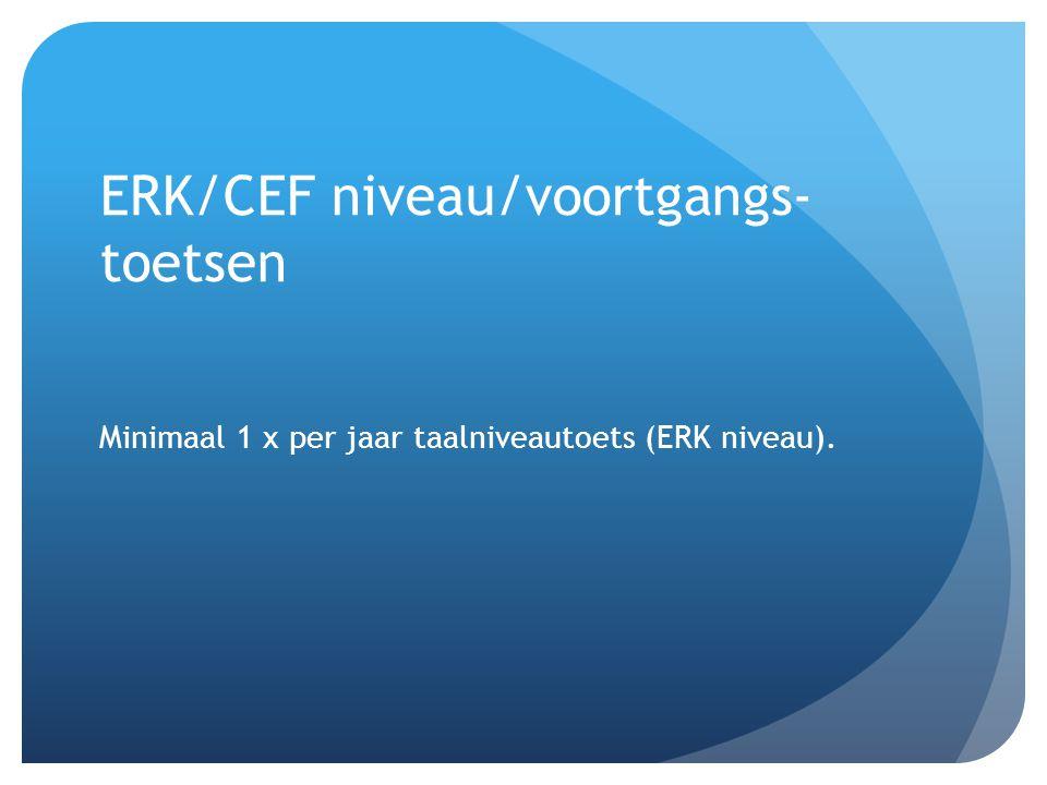 ERK/CEF niveau/voortgangs- toetsen Minimaal 1 x per jaar taalniveautoets (ERK niveau).