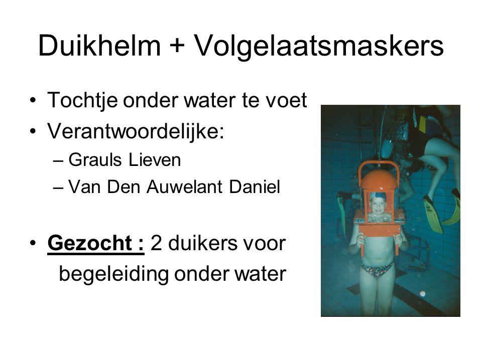 Duikhelm + Volgelaatsmaskers Tochtje onder water te voet Verantwoordelijke: –Grauls Lieven –Van Den Auwelant Daniel Gezocht : 2 duikers voor begeleidi